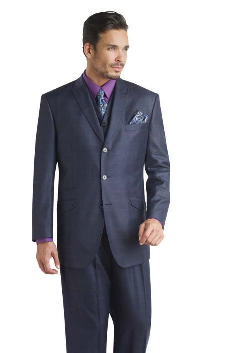 Sku pz9863 modern 3 pc 3 button business three piece suit black 175