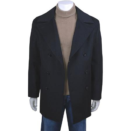 SKU#HX20001 Mens Black Double-Breasted Peacoat $139