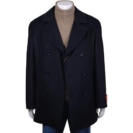 SKU#GV98413 Mens Navy Double-Breasted Wool/ Cashmere Peacoat $139