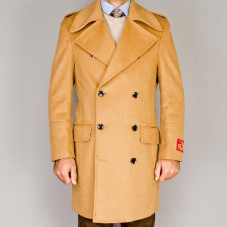 SKU#VB12902 Mens Wool/Cashmere Blend Double Breasted Coat Camel $139