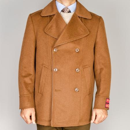 SKU#MM5737 Mens Wool/Cashmere Blend Double-Breasted Coat Chestnut $139
