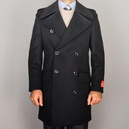 SKU#YX5011 Men Black Wool/Cashmere Blend Double-Breasted Coat $139