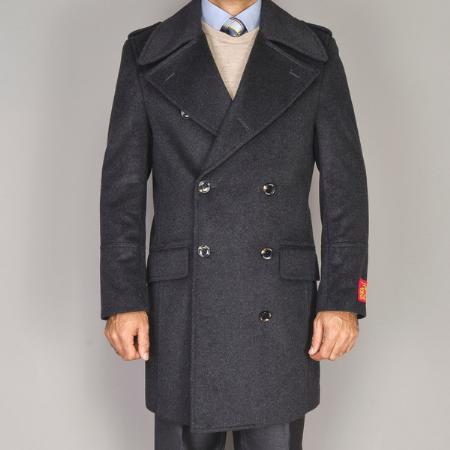 SKU#MK90161 Mens Wool/Cashmere Blend Double-breasted Coat Charcoal Grey $139