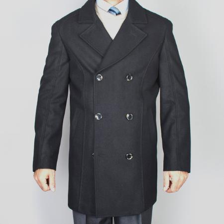 SKU#MF1482 Mens Black Wool Double Breasted Peacoat $139