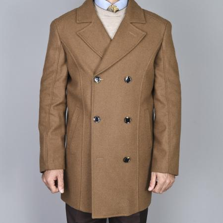 SKU#HC28901 Mens Chestnut Double Breasted Wool Peacoat $139