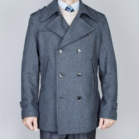 SKU#TT6292 Mens Small Charcoal Grey Double Breasted Peacoat $139