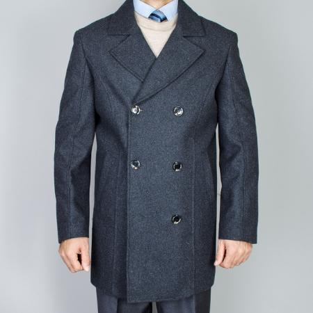 SKU#BL72399 Mens Charcoal Grey Wool Double Breasted Peacoat $139