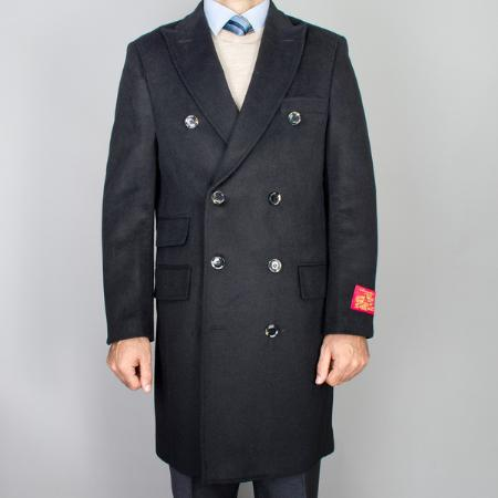 SKU#ILP1943 Mens Black Wool-Cashmere Double Breasted Topcoat $139