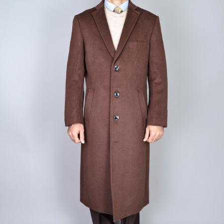 1920s Mens Coats & Jackets History Chestnut Wool and Cashmere Single Breasted Topcoat $175.00 AT vintagedancer.com