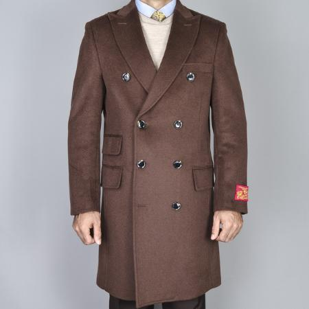SKU#ALM6213 Mens Chestnut Wool-Cashmere Double-Breasted Topcoat $139