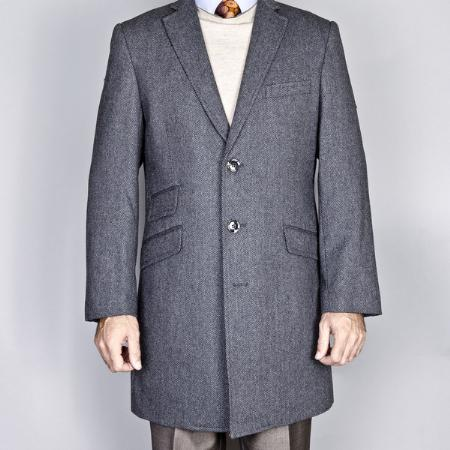MensUSA.com Gray Herringbone Wool Cashmere Blend Single Breasted Carcoat(Exchange only policy) at Sears.com