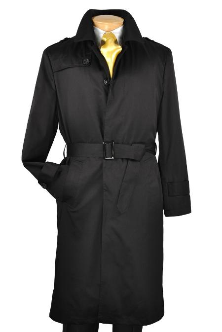SKU#VN0222 Black Single Breasted Trench Coat $175