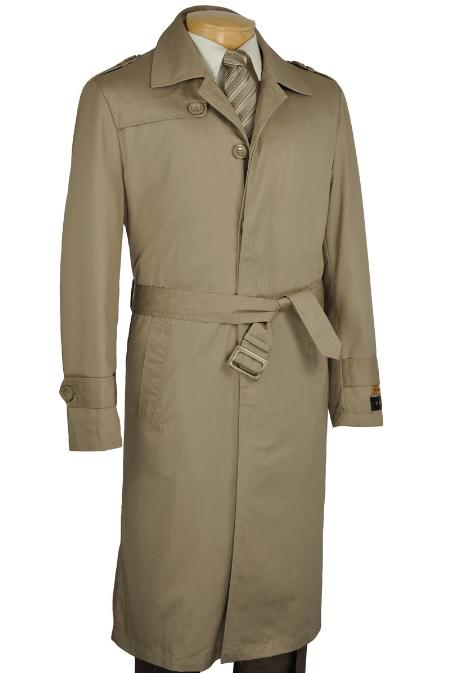 SKU#KH2271 Khaki Single Breasted Trench Coat