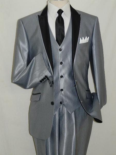 SKU#SHY2990 Sharkskin Silver Slim Fit Shiny Two Button Vested three piece suit $175
