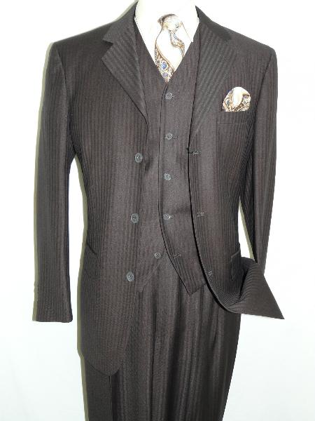 SKU#MKS3233 Brown Three Piece Tonal Stripes Three Button Vested three piece suit $175