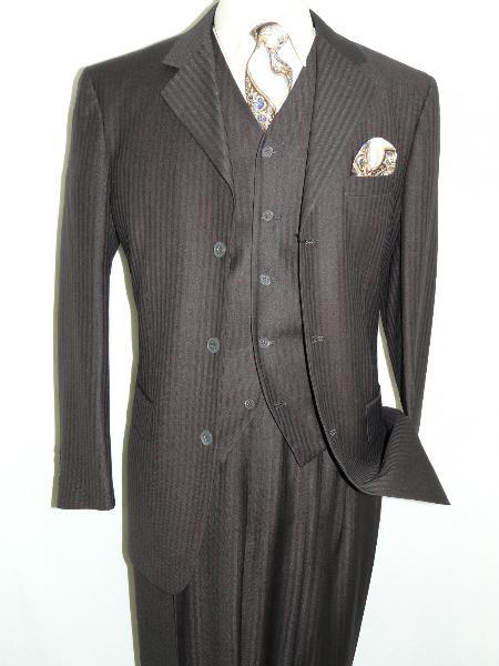 SKU#MKS3233 Brown Three Piece Tonal Stripes Three Button Vested three piece suit $175