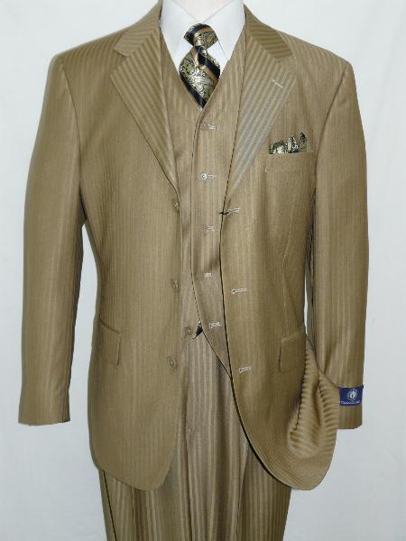 SKU#EVC2724 Taupe Mustard Three Piece Tonal Stripes 3 Button Vested three piece suit $175