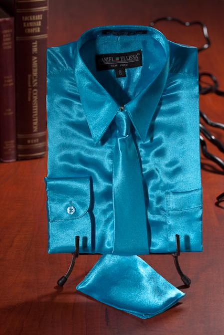 SKU#TGV1234 Boys turquoise ~ Light Blue Colored Satin Dress Shirt Combo $35