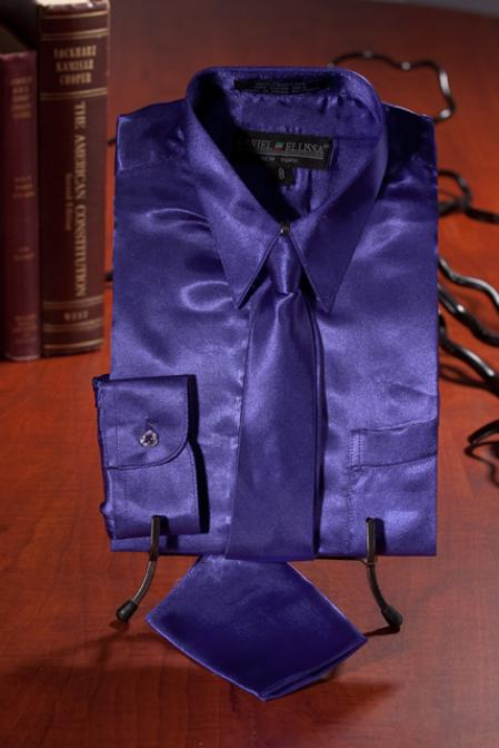 SKU#WES131 Boys Purple Satin Dress Shirt Combo $35