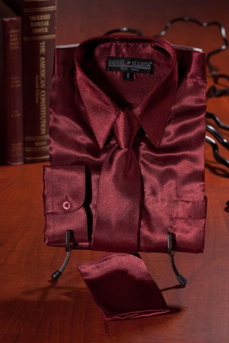 SKU#EDF132 Boys Burgundy ~ Maroon ~ Wine Color Satin Dress Shirt Combo $35