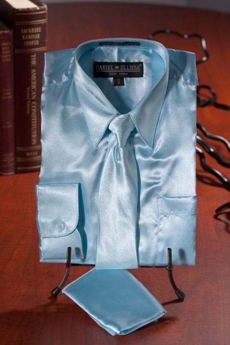 SKU#LKJ932 Boys Light Blue Satin Dress Shirt Combo $35