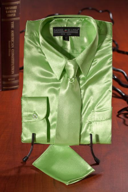 SKU#BVC282 Boys lime mint Satin Dress Shirt Combo