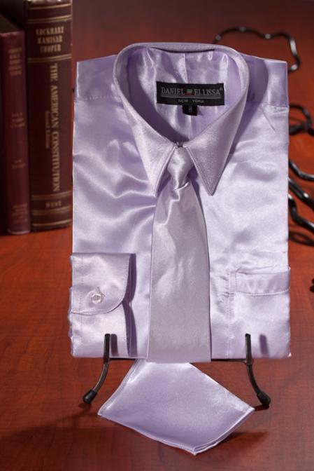 SKU#ASD610 Boys Lavender Satin Dress Shirt Combo