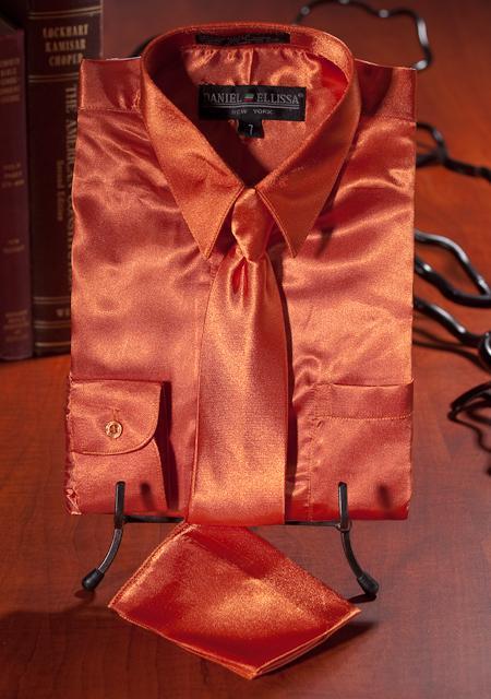 SKU#QWK1926 Boys Orange Satin Dress Shirt Combo