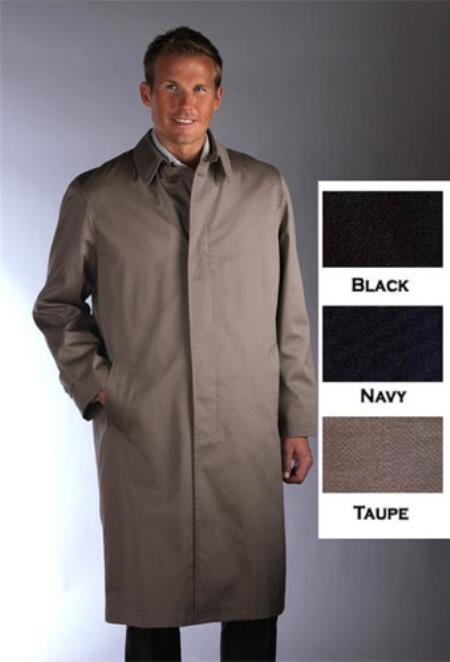 SKU#YHJ152 Single Breasted Classic Poplin Raincoat-Trench Coat Taupe $189