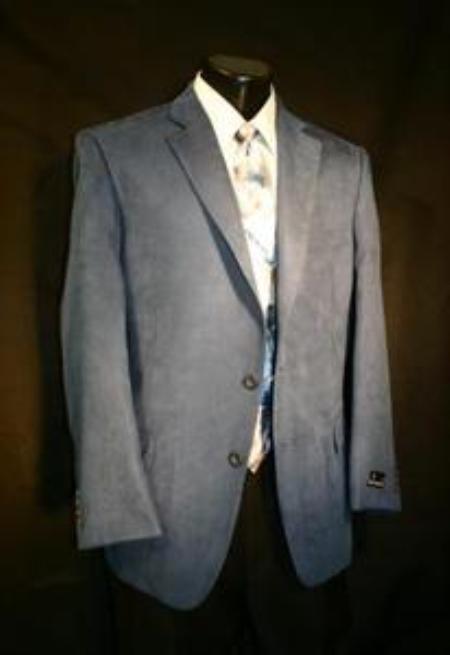 SKU#XCV1326 Azure Blue Big Size Microfiber Sportcoat $139