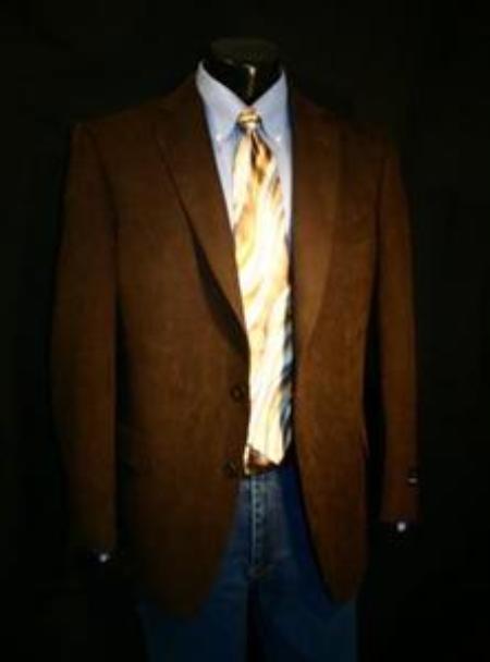 SKU#MJK1782 Brown Big Size Microfiber Sportcoat