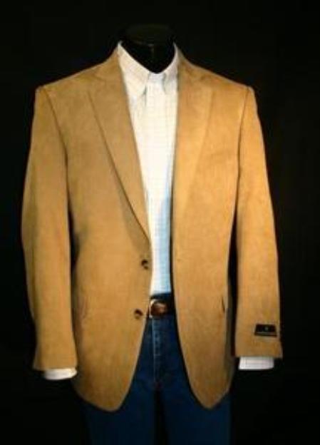 SKU#HVV2211 Mens Camel ~ Khaki Microfiber Sportcoat