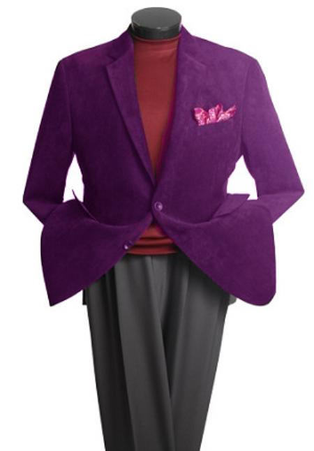 SKU#JNK1821 Mens 2 Button Classic Corduroy Blazer Purple $799