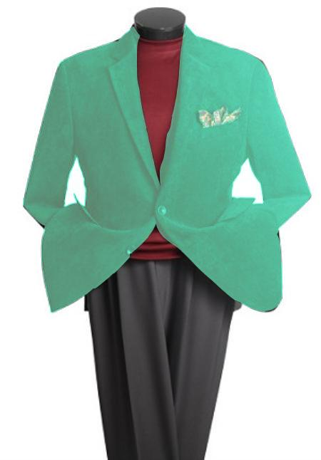 SKU#GV9783 Mens 2 Button Classic Cotton/Rayon Blazer Mint Green $139