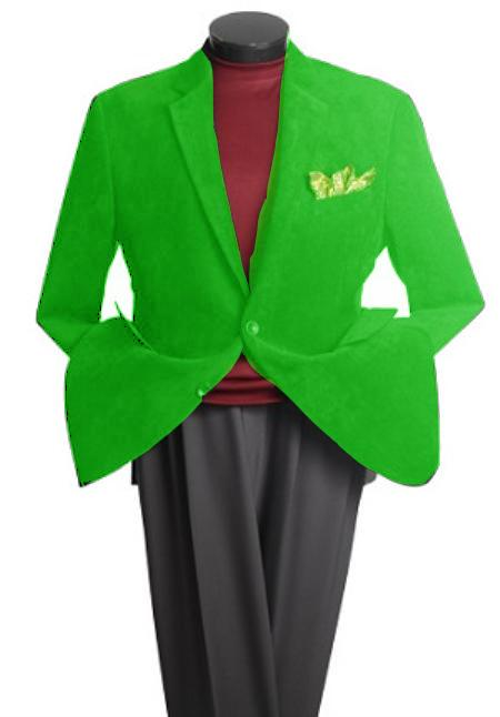 SKU#PS2966 Mens 2 Button Classic Cotton/Rayon Blazer Lime Green $139