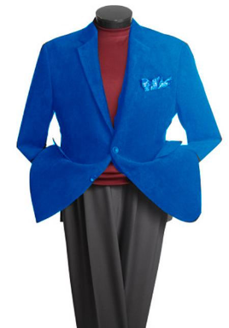 SKU#JR9400 Mens 2 Button Classic Cotton/Rayon Blazer Royal Blue