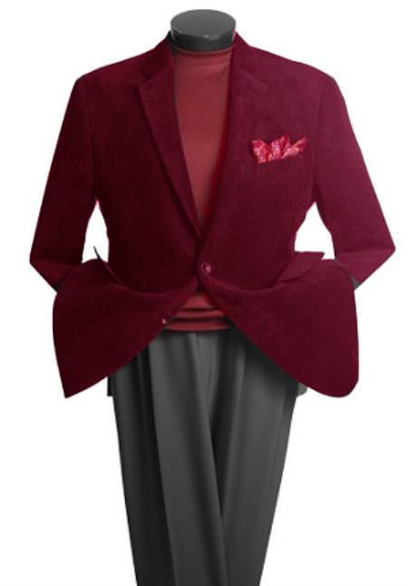SKU#PH5188 Mens 2 Button Classic Corduroy Blazer Burgundy ~ Maroon ~ Wine Color $139