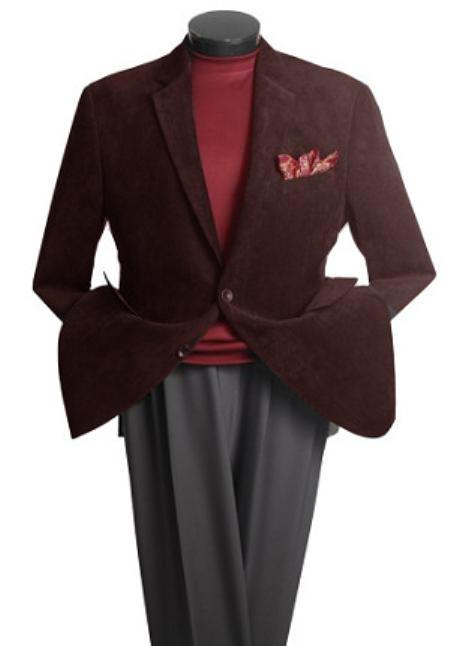 SKU#HK6207 Mens 2 Button Classic Corduroy Blazer Coffee $139