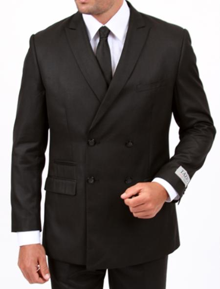 MensUSA.com 2 cross 4 Center Vent Double Breasted Peak Lapel Slim Cut Fit Flat Front Pants Black Suit(Exchange only policy) at Sears.com