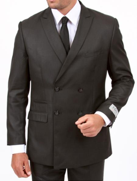MensUSA.com 2 cross 4 Center Vent Double Breasted Peak Lapel Slim Cut Fit Flat Front Pants Grey Suit(Exchange only policy) at Sears.com