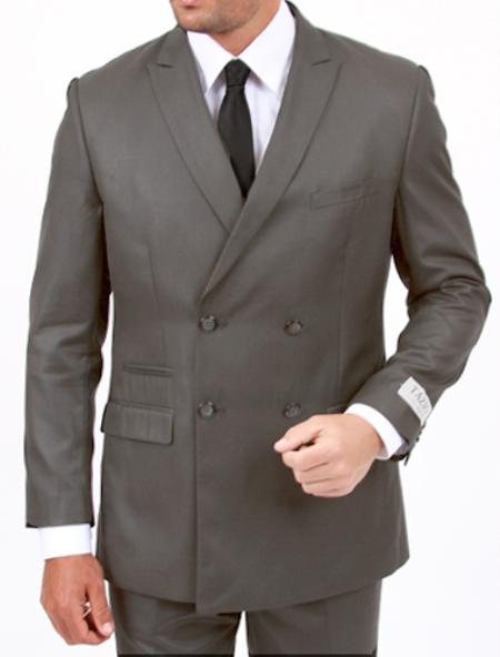 MensUSA.com 2 cross 4 Center Vent Double Breasted Peak Lapel Slim Cut Fit Flat Front Pants Light Grey Suit(Exchange only policy) at Sears.com