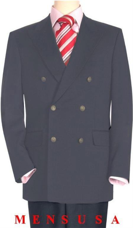 SKU#MGR119 High Quality Medium Gray Double Breasted Blazer with Peak Lapels $199