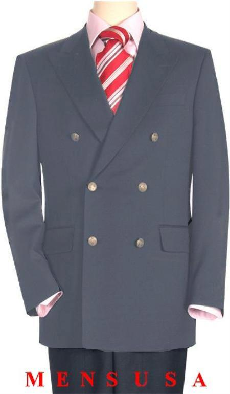 SKU#LGY1232 High Quality Light Gray Double Breasted Blazer with Peak Lapels $199