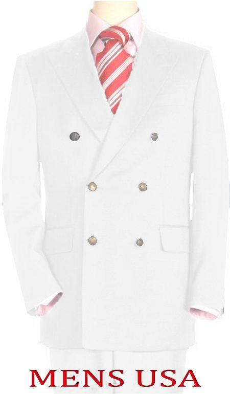 SKU#WHE478 High Quality White Double Breasted Blazer with Peak Lapels $199