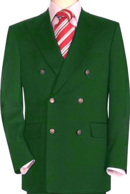 SKU#DGR435 High Quality Dark Green Double Breasted Blazer with Peak Lapels $199