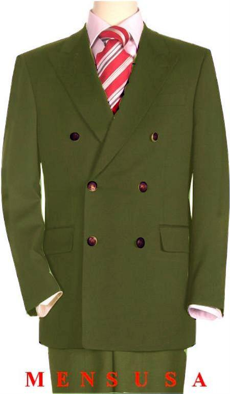 SKU#OGN286 High Quality Olive Green Double Breasted Blazer with Peak Lapels $199