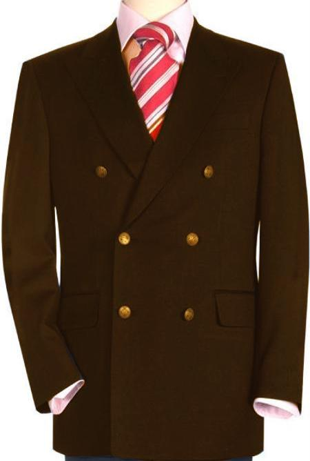 SKU#DBN232 High Quality Dark Brown Double Breasted Blazer with Peak Lapels $220