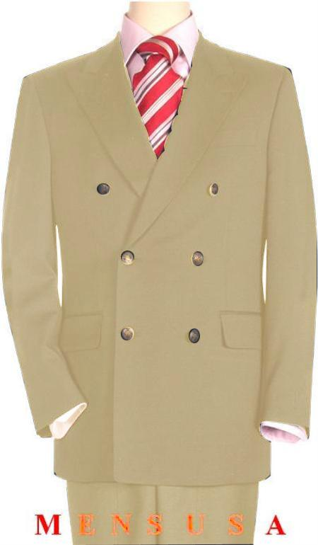 SKU#BIG6113 High Quality Beige Double Breasted Blazer with Peak Lapels $199