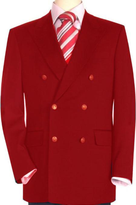 SKU#RED931 High Quality Red Double Breasted Blazer with Peak Lapels $199