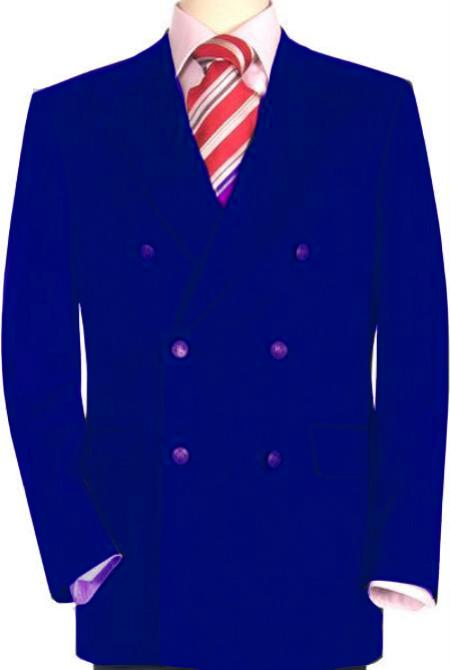 SKU#RYB138 High Quality Royal Blue Double Breasted Blazer with Peak Lapels $199